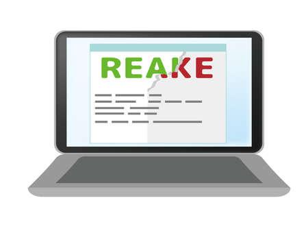 Website displaying fake news. laptop personal computer.