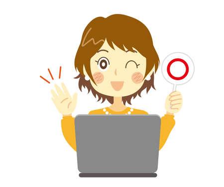 A woman giving an ok sign. computer. Correct answer.