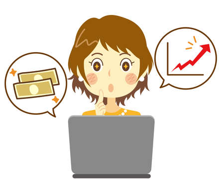 A woman whose eyes have changed due to a successful online business. Side job. Stock trading, FX.