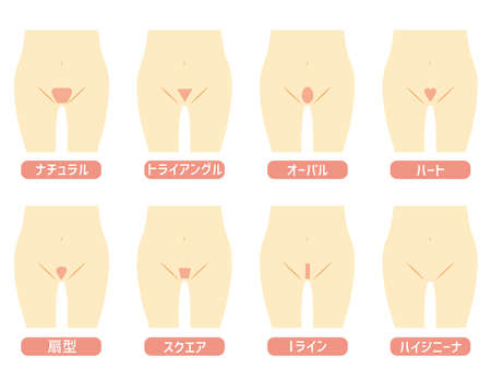 A list of underhair designs and shapes. The written Japanese is the type of underhair.