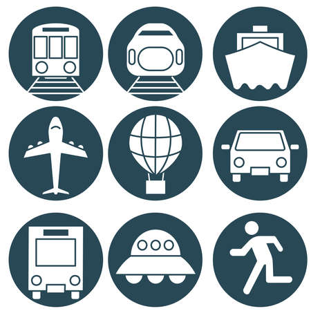 Simple and cute vehicle and transportation icon set.