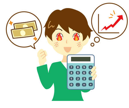 Illustration of a man who is enthusiastic about saving and investing.