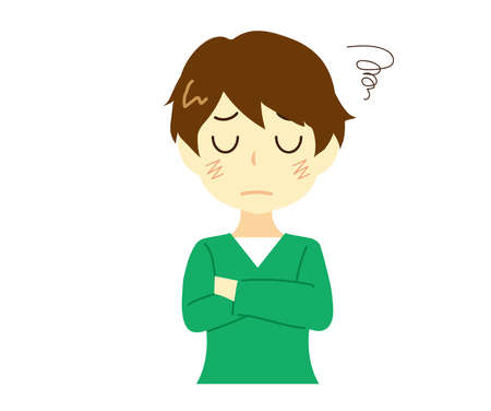 Illustration of a man worried with his arms folded.