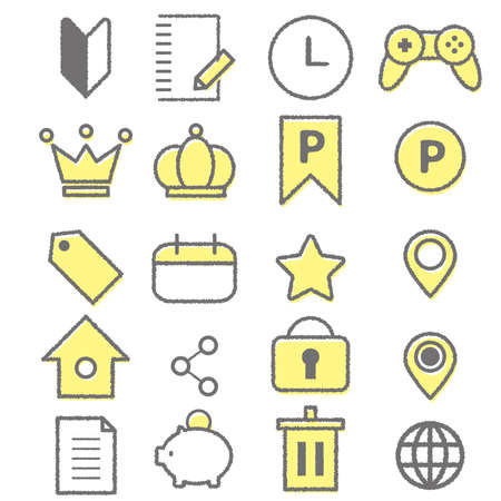 Two-tone hand-painted web icon set. Material that can be used for point sites.