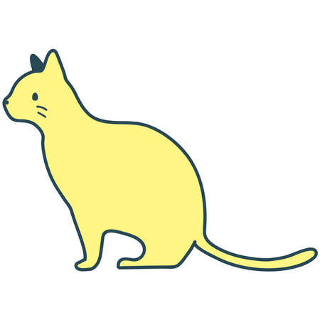 Illustration of a cat seen from the side. sit.