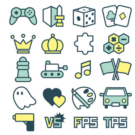 A simple and cute game genre icon set.