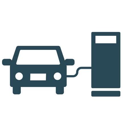 Illustration of a car refueling at a gas station.