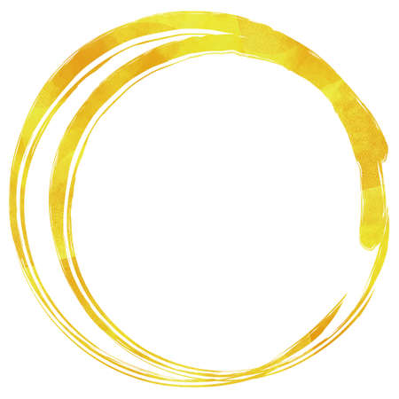 A double circle that looks like it was drawn with a golden Japanese brush. Watercolor texture.