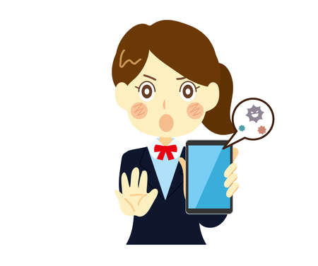 Women and high school girls urged to protect their smartphones from viruses. Holding a virus-infected smartphone, explaining.