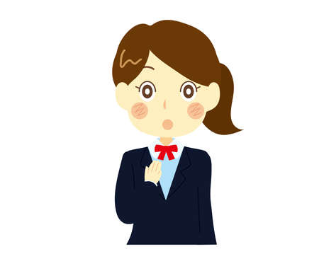 Illustration of a high school girl who is surprised but relieved. Relief Illusztráció