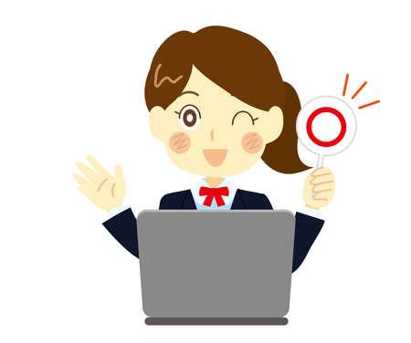 Illustration of a woman raising the correct tag, a high school girl. Computer class Illusztráció