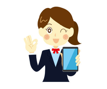 A woman proposing a smartphone, a high school girl. Holding a smart phone and explaining.