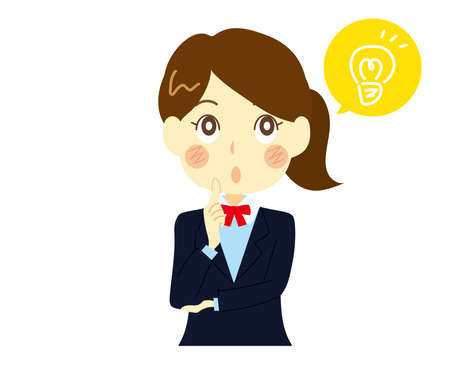 An illustration of a high school girl who comes up with a good idea.