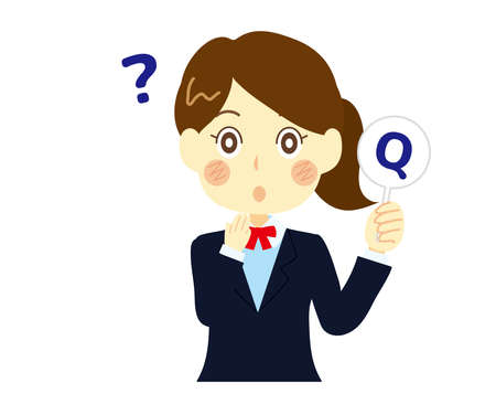 Illustration of a high school girl asking a question.