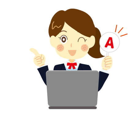 Illustration of a high school girl answering a question. Computer class