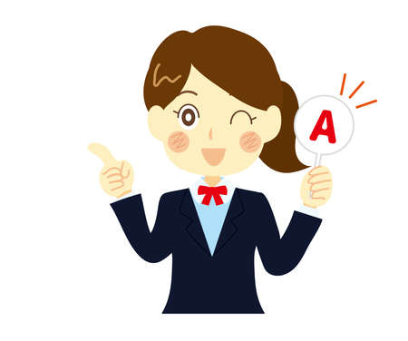 Illustration of a high school girl answering a question.