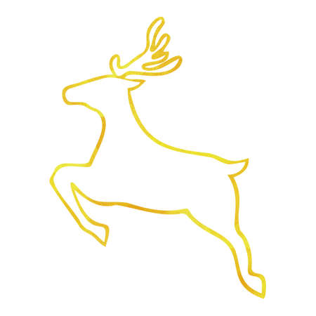 Silhouette of a reindeer in watercolor. Gold color. Christmas.