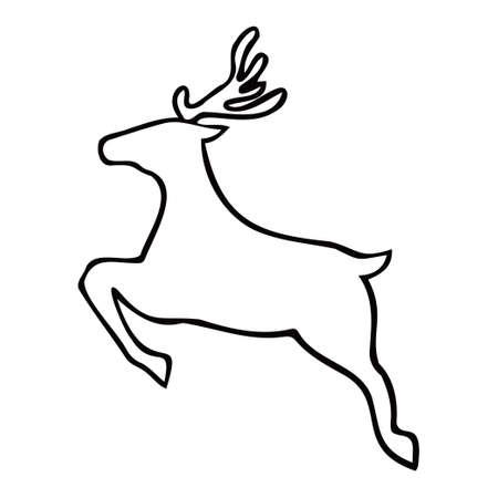 Simple reindeer silhouette. Black color. Christmas.