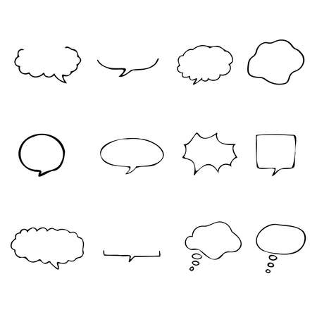 Hand-drawn speech bubbles. A set of several variations. Illusztráció