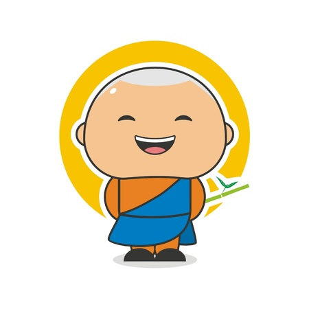 Happy Monk Stock Vector - 18346276