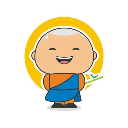 Happy Monk Illustration