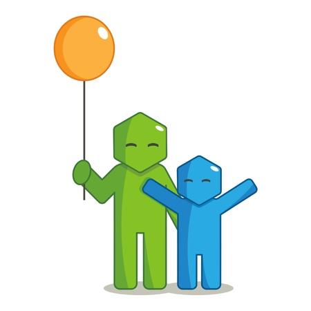 Hexagon Man-Giving Balloon Stock Vector - 18346285