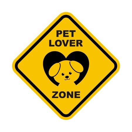 Pet Lover Zone Sign Illustration
