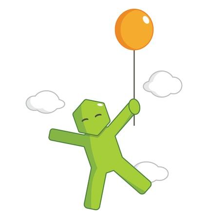 Hexagon Man - Flying By Balloon