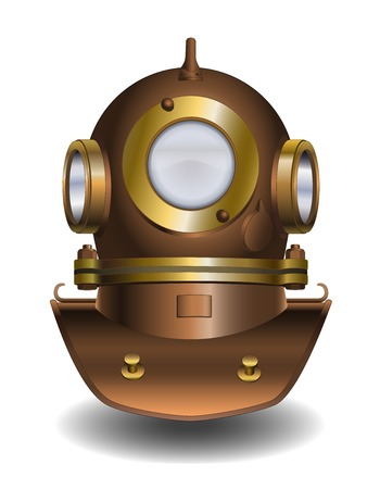 Vector illustration of old diver helmet Vector