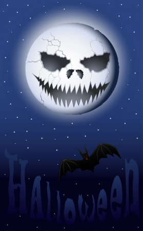 Halloween night with scary smiling moon and a vampire bat Vector