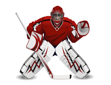 hockey stick: Vector illustration of ice hockey goalie