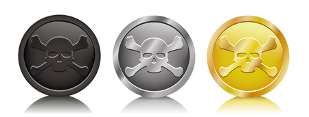 Vector illustration pirate coins in three variation Vector