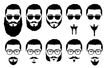 illustrazione vettoriale silhouette baffi e barba Vettoriali