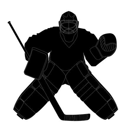 Vector illustration gardien de but de hockey de silhouette Banque d'images - 24224862
