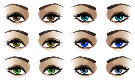 eyelids: Vector illustration of female eyes in six colors