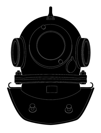 oceanography: Illustrazione vettoriale di silhouette casco di immersione