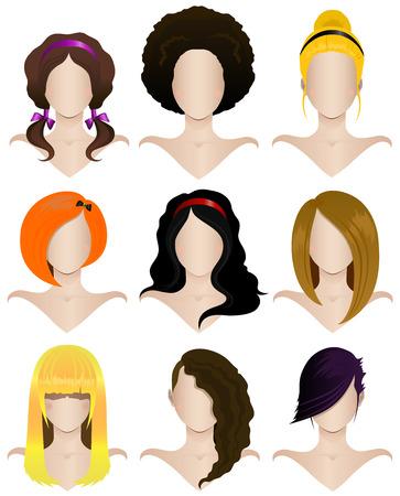 cabello rizado: Ilustración vectorial de un conjunto de nueve cortes de pelo de las mujeres s