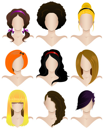 girl short hair: Vector illustration of a set of nine women s hairstyles