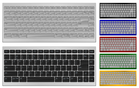Realistic art of keyboard with 84 keys in 7 colors Vector