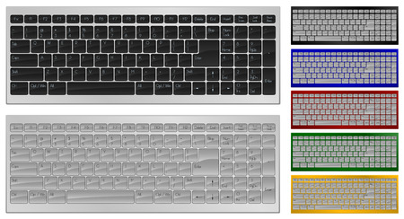 Realistic art of keyboard with 100 keys in 7 colors Vector