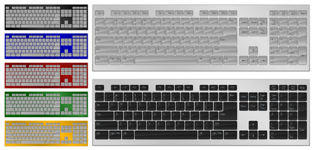backspace: Realistic art of keyboard with 104 keys in 7 colors