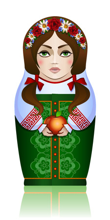 nested: Vector illustration  Russian souvenir nested doll with apple in the summer season Illustration