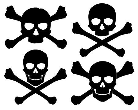 evil skull: Vector illustration  Silhouette of the Jolly Roger