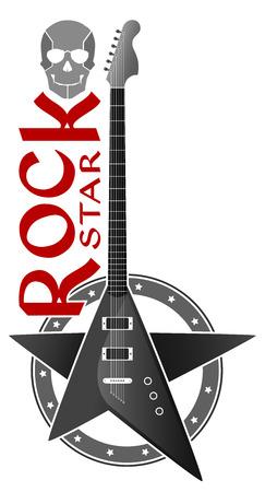 Vector illustration  Emblem of the rock guitar  Ilustração