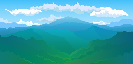 산맥: Vector illustration  Panoramic view of the mountain range