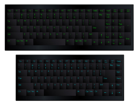 backspace: Black matte soft touch keyboard with 84 and 100 keys