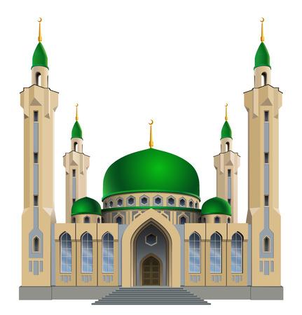Vector illustration. Petite mosquée avec quatre minarets