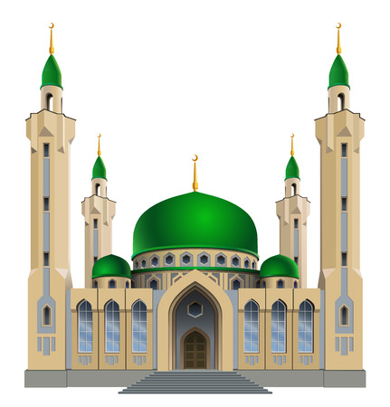 minarets: Vector illustration. Small mosque with four minarets