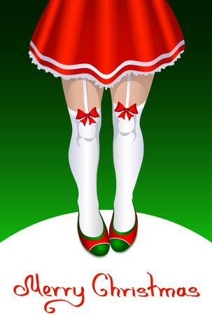 mini falda: Ilustraci�n del vector. Pap� Noel femenino en mini falda y medias Vectores