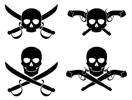 Vector illustration. Silhouette of the Jolly Roger with crossed saber and pistol Vector